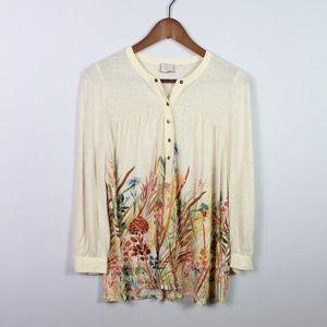 Anthropologie Postmark Boho Henley Shirt Beige